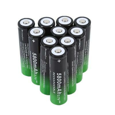 10 X 3.7V 18650 5800mAh Li-ion Rechargeable Battery For Flashlight Torch LED RC