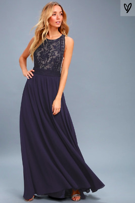 ea7d5c5b09040 Lulus - Forever and Always Navy Blue Lace Maxi Dress - Sz S. BRAND NEW