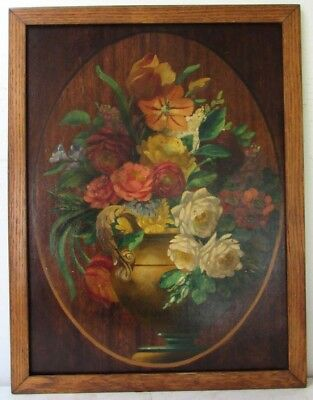 "Vintage Victorian Gorgeous Floral"" Roses In The Vase"" Oil Painting On Panel"