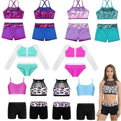 Kids Girls Sports Dance Two-Pieces Outfits Ballet Gymnastics Leotard Dancewear