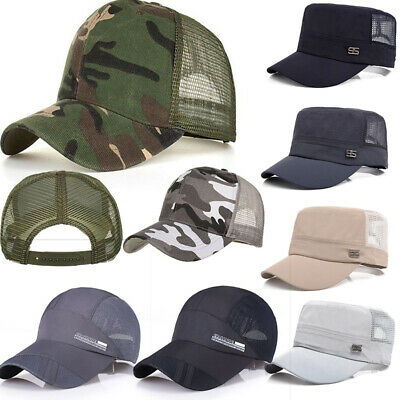 Men Women Baseball Flat Cap Sunshade Mesh Back Outdoor Hunting Military Cool Hat