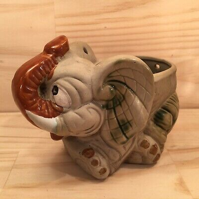 "ELEPHANT ""Grey"" Beautiful Pottery Small Plant Pot Decorative Canister Ornament"