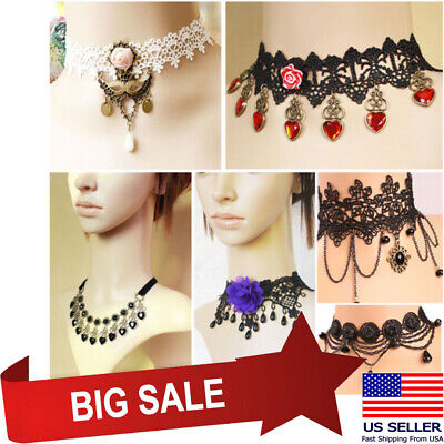 2019 Victorian Lace Gothic Lolita Choker Collar Necklace Cameo Flower Pendant OS