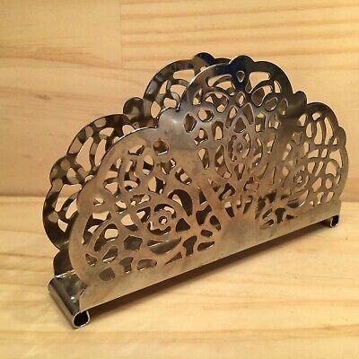 "TRADITIONAL FAN ""Silver"" Beautiful Metal Napkin Holder Kitchen Table Decoration"