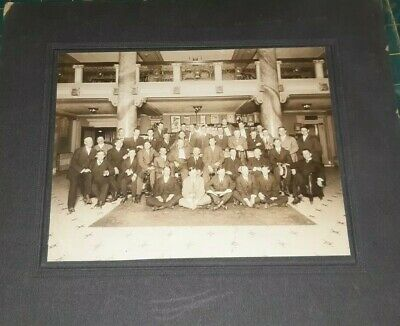 Old Cabinet Photo Theater/Hotel Lobby w/Vintage Cigar Ads & Group Shot c1910