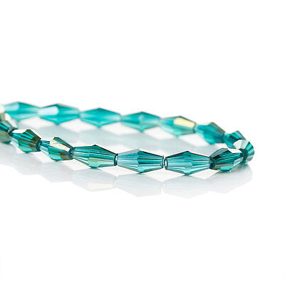 75 Crystal long Bicone Beads TEAL Blue Green AB 8mm x 4mm, bgl0091