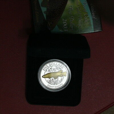 New Zealand 2003 Proof Kokopu Silver $5 Gold Plating Scarce (3222717F)