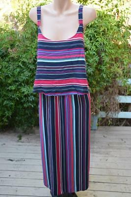 AUTOGRAPH Striped MAXI DRESS Layered Bodice Overlay Size 24. NEW RRP-$79.99 NEW.