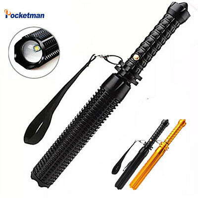 Baseball Bat LED Flashlight Tactical T6 5 Mode Zoomable Self Defense Light 18650