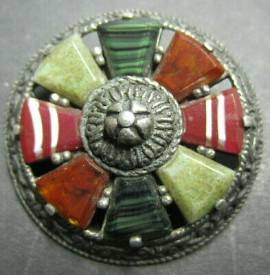 Scottish Pewter & Hardstone Brooch Inc Moss + Banded Agate - Circa 1920