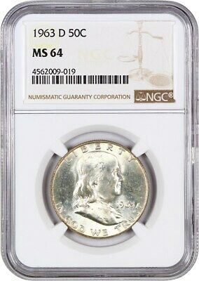 1963-D 50c NGC MS64 - Franklin Half Dollar