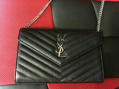 6e1dffbc7e3 Authentic Ysl Saint Laurent Classic Monogram Wallet Chain Shoulder Bag Black
