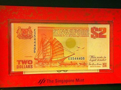 Singapore 1993 $2 Banknote 1990 $1 Coin Unc  Set Year Of The Rooster  (A)