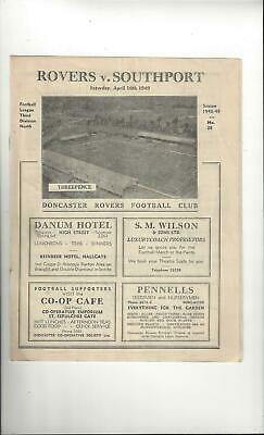 Doncaster Rovers v Southport Football Programme 1948/49