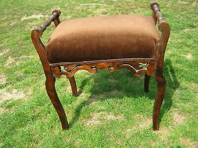Edwardian Stained Beech Piano Stool, Carved Valance, Covered in Brown Dralon