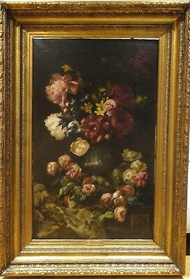 Fine Large 19th Century French Master Still Life Flowers by F Ledoux 1874
