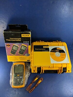 New Fluke 52 II Thermocouple Thermometer, Hard Case, Box, More