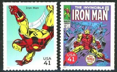 IRON MAN Set of 2 Scarce MNH US Postage Stamps Scott's 4159h and 4159r