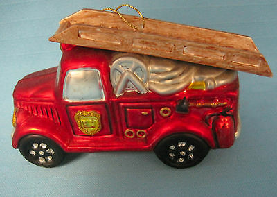 Firetruck Emergency Vehicle Hook Ladder Christmas Holiday Red Glass Ornament #2