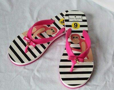 c02a37901dbb NEW Pink Bow White KATE SPADE Monkey NOVA FLIP FLOPS Sandals Shoes 9 - 10  Large