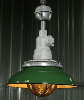 Vtg 30s Benjamin Porcelain Industrial Explosion Proof Factory Light RESTORED