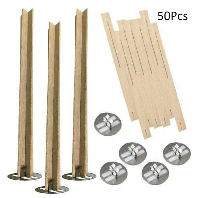 50pcs Wood Candles Core Soy wax Wick Sustainers with Iron Stands 13mm*130mm