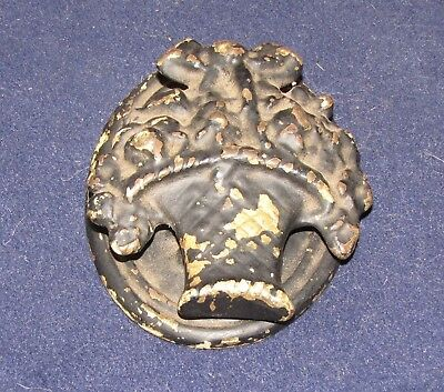 Vintage Antique Hubley Cast Iron Door Knocker Flowers in a Basket