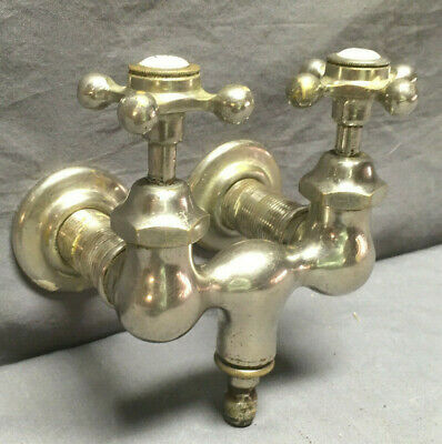 Antique Nickel Brass Cross Handles Bathtub Faucet Old Vtg Plumbing 17-19L