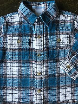 Janie and Jack Shirt size 6 12 Months Plaid Flannel Long Sleeved Baby Boys