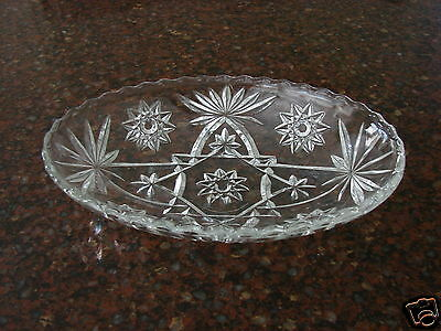 Clear Glass Oval VINTAGE Condiment Relish Serving Dish