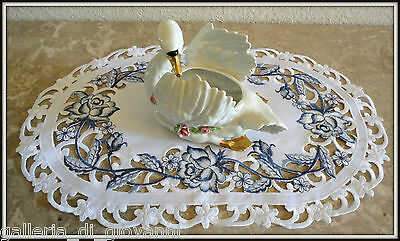 """DUTCH DELFT  Lace Doily  17"""" by 11"""" Placemat Runner White & Blue Rose"""