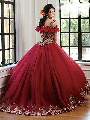 Burgundy Gold Quinceanera Dresses Ball Gown Sweet 16 Dress Shoulder Straps Prom