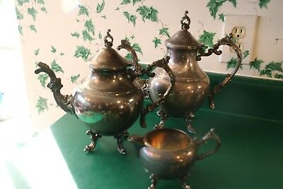 Vintage FB Rogers SilverPlate Tea/CoffeePot and Sugar Bowl w/ 1883 Crown Stamp