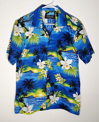 2f034ef64 Hawaiian Aloha Shirt by Favant | Blue Yellow Flowers Beach Surf | Mens  Medium