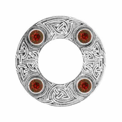 Art Pewter Celtic Knot Dancers Plaid Brooch with Red Stone 249 (D/RED)