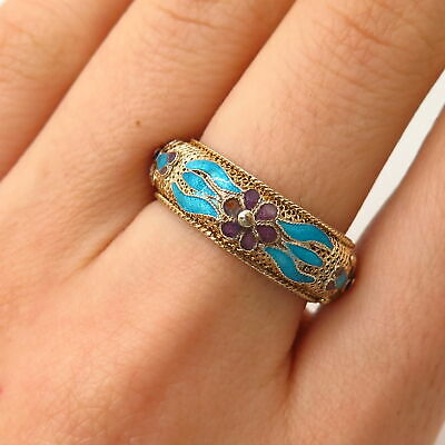 900 Silver Gold Plated Antique China Enamel Floral Design Band Ring Size 7.5