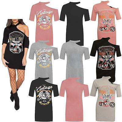 Women One shoulder Single Sleeve Sexy Slim T Shirt Dress Clubwear Printed Outfit