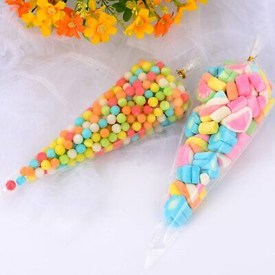 Clear Cellophane Sweet Candy Cone Bags Large favours Birthday Party Events