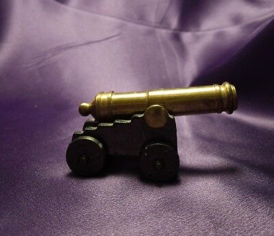 Small Brass Cannon with Cast Iron Carriage Made in USA