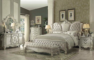 RICHMOND 5 PIECE Traditional Antique White Bedroom Set w/ King Size ...