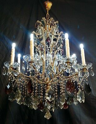 Rare Large 1930 Amethyst & Smoked Crystal Gilded Bronze Chandelier 9 Lights 110v