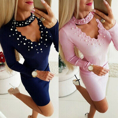 Women Dress Pearl Beading Halter V-neck Solid Long Sleeve Bodycon Party Dress D