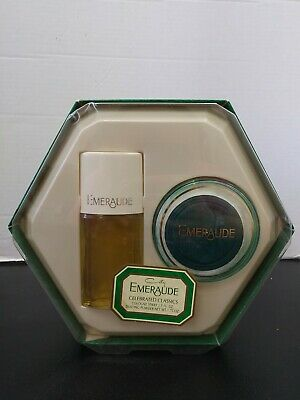 Vintage Emeraude by Coty 1.75 oz Dusting Powder & 1.5 fl oz Cologne Spray set
