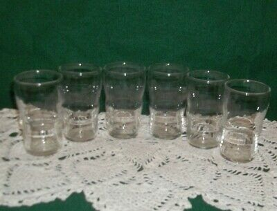 Retro Set of 6 Restaurant Style Libbey 4oz Clear Glass Juice Glasses - Nice