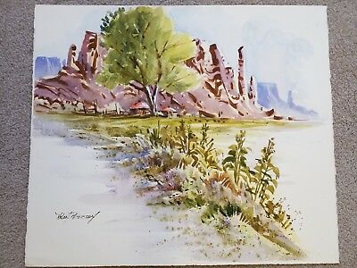 Early KOLAN PETERSON-Listed Artist Original Painting Signed RARE farm mountains