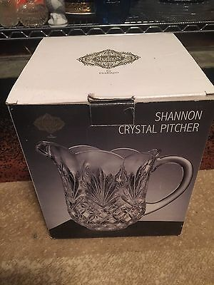"Shannon Crystal Glass Pitcher by Godinger Shannon  8"" Tall 46 Ounce in Box"