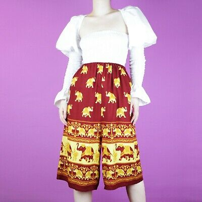 VINTAGE Wide Crop Burgundy Red Yellow Elephant Boho Hippy Culottes Shorts 10 12