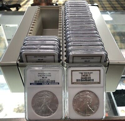 1986-2010 NGC MS-69 American Silver Eagle Set 25 Coins In NGC Box