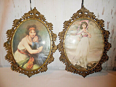 Antique Victorian Pictures In Ornate Brass Frames Italy