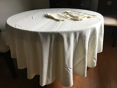 Vintage Oval Ivory Tablecloth and Table Linens with 8 Napkins Cream Stains 80 in
